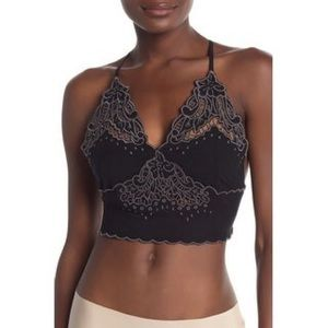 Free People Black Embroidered Cross-Back Crop Top